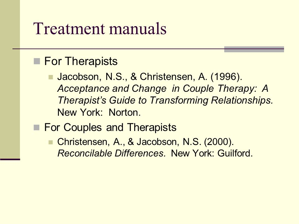 Treatment manuals For Therapists For Couples and Therapists