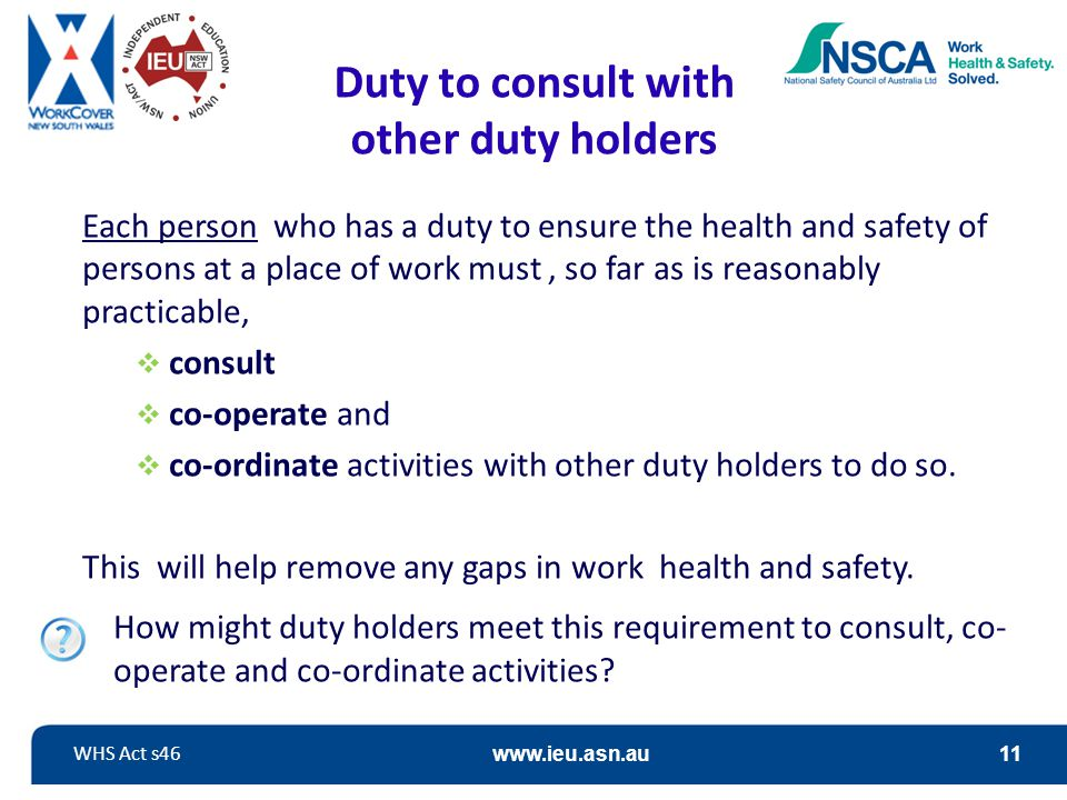 Duty to consult with other duty holders