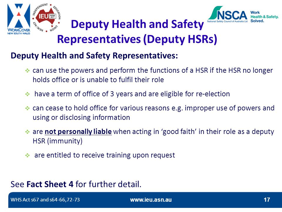 Deputy Health and Safety Representatives (Deputy HSRs)