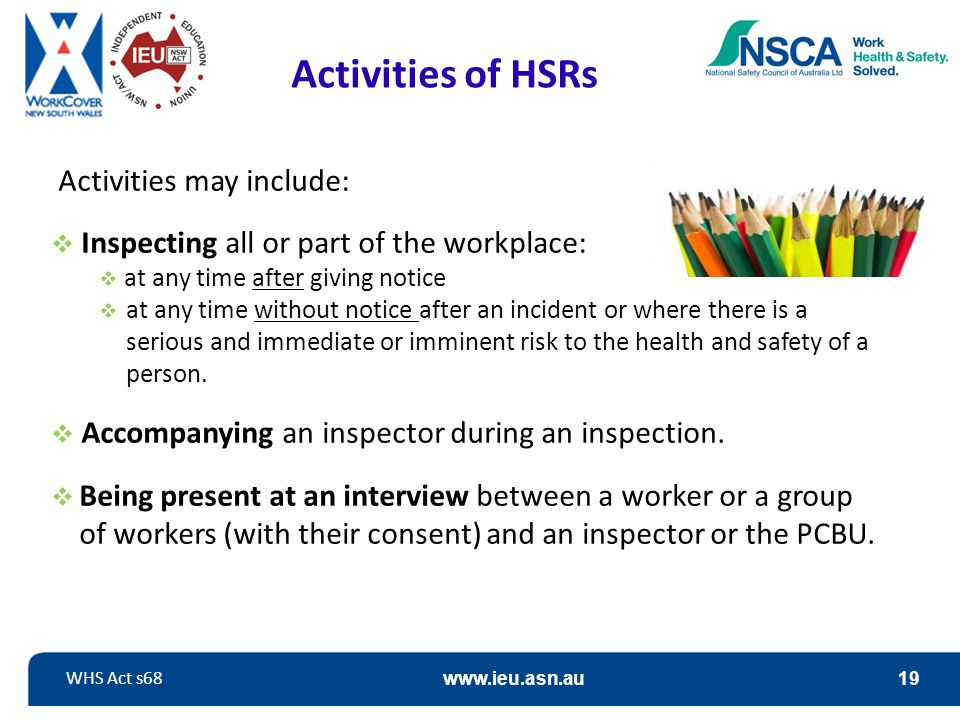 Activities of HSRs Activities may include: