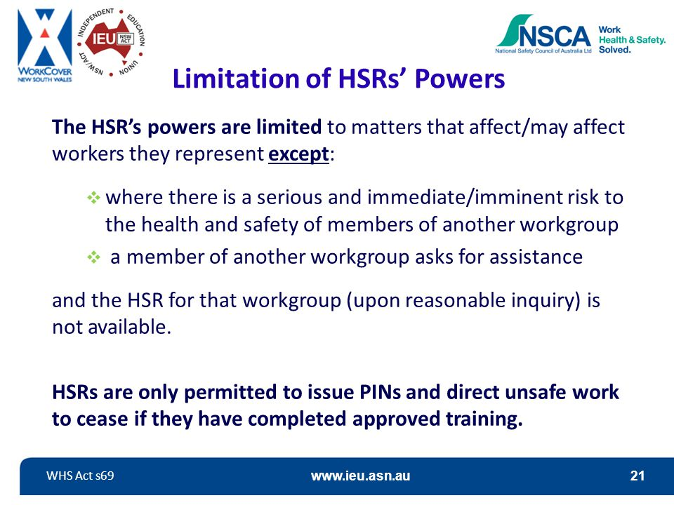 Limitation of HSRs' Powers