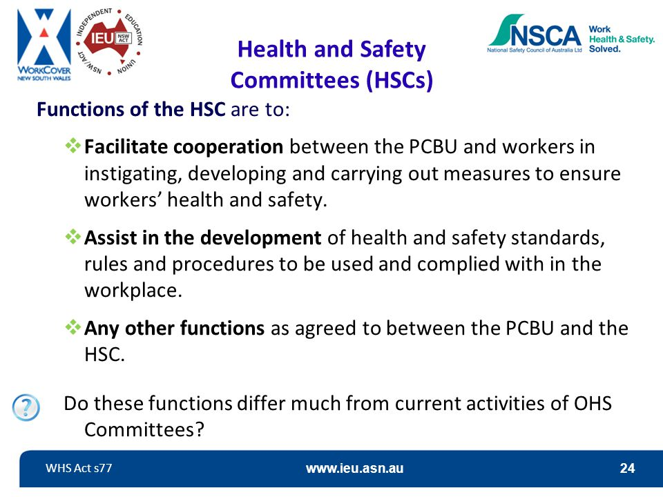 Health and Safety Committees (HSCs)