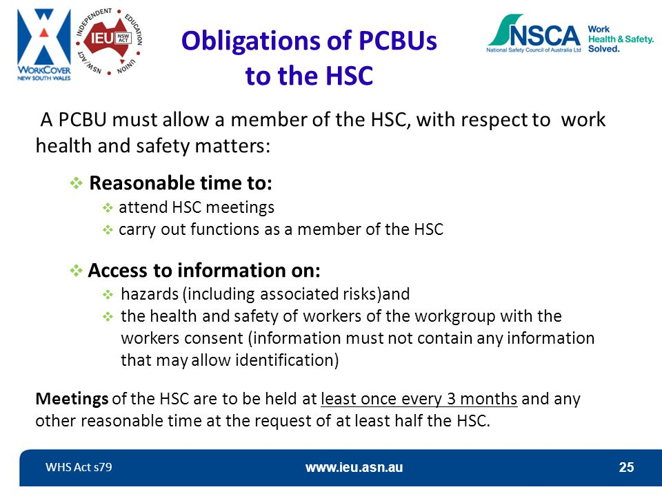 Obligations of PCBUs to the HSC