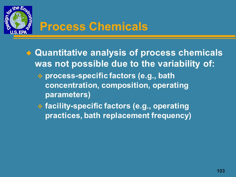 Process Chemicals Quantitative analysis of process chemicals was not possible due to the variability of: