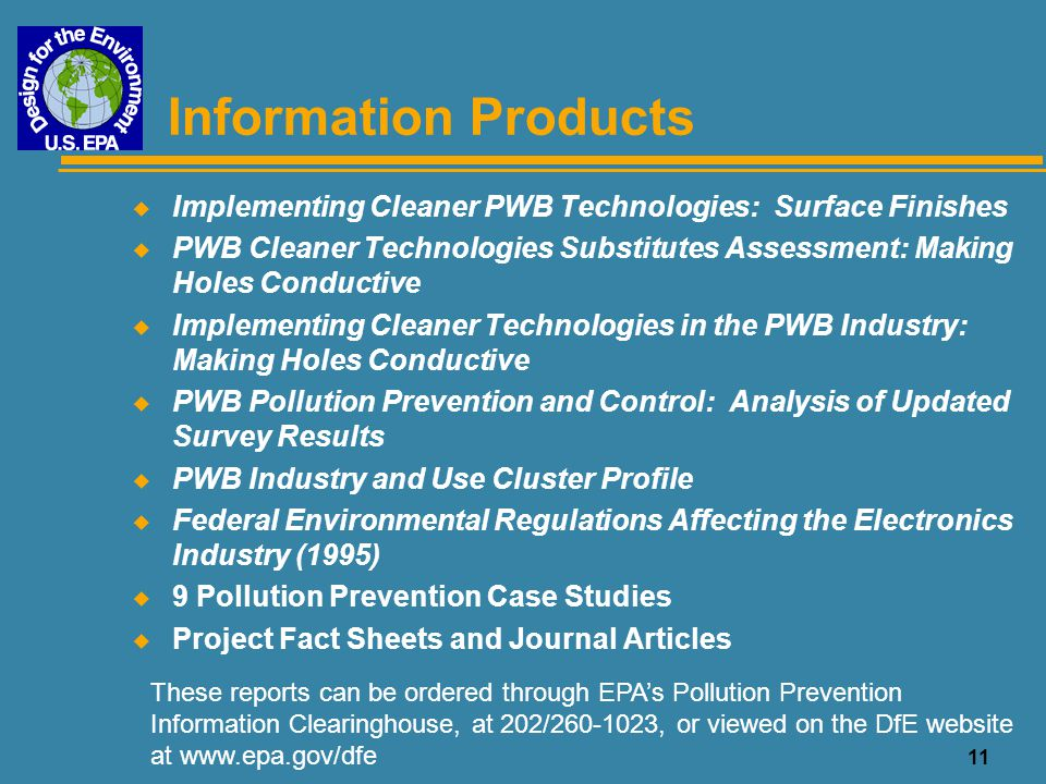 Information Products Implementing Cleaner PWB Technologies: Surface Finishes.