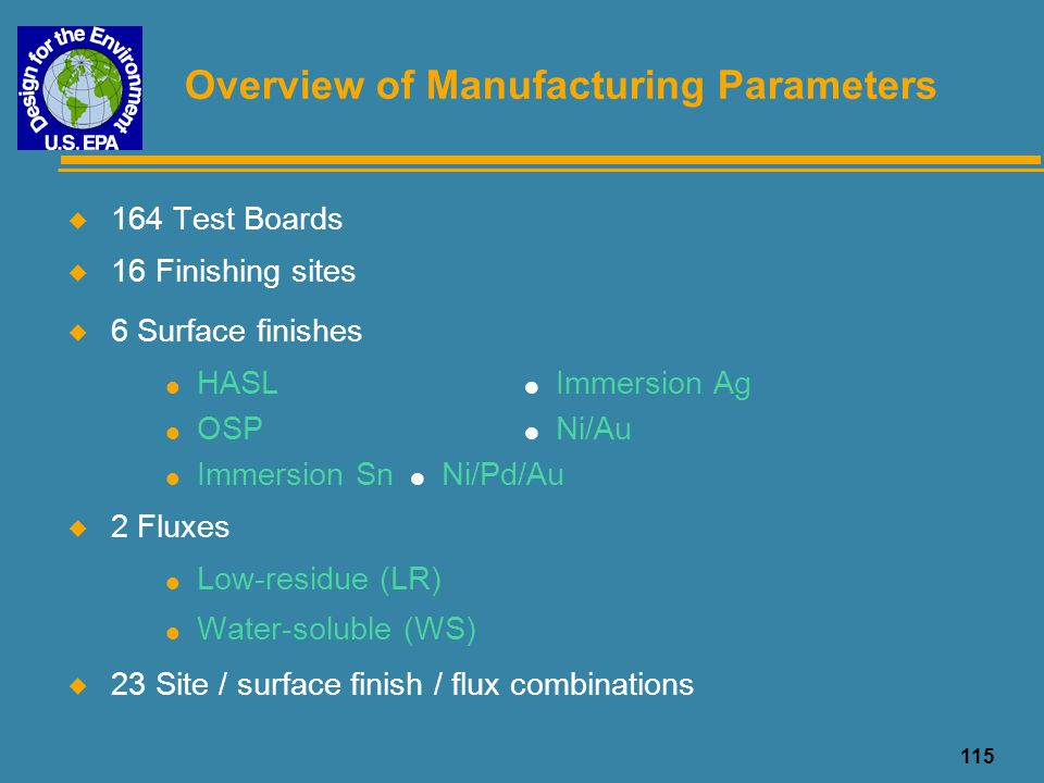 Overview of Manufacturing Parameters