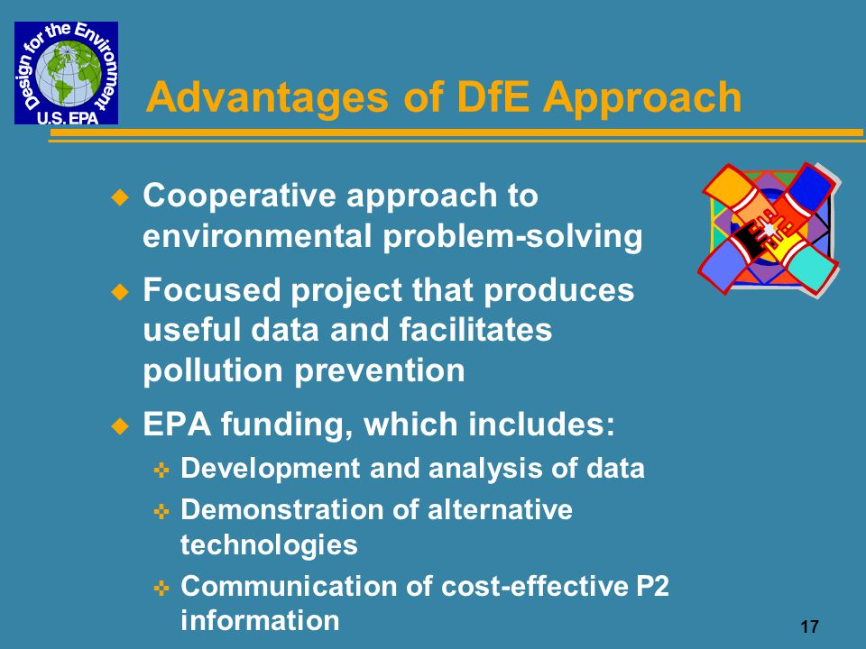 Advantages of DfE Approach