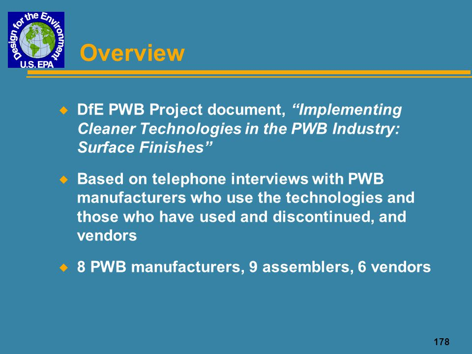 Overview DfE PWB Project document, Implementing Cleaner Technologies in the PWB Industry: Surface Finishes