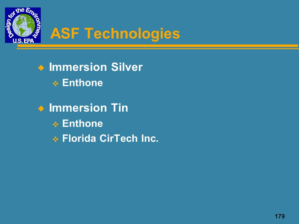 ASF Technologies Immersion Silver Immersion Tin Enthone
