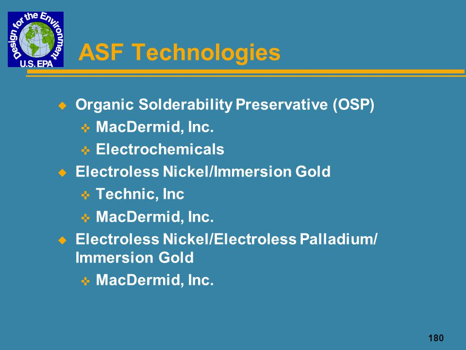 ASF Technologies Organic Solderability Preservative (OSP)