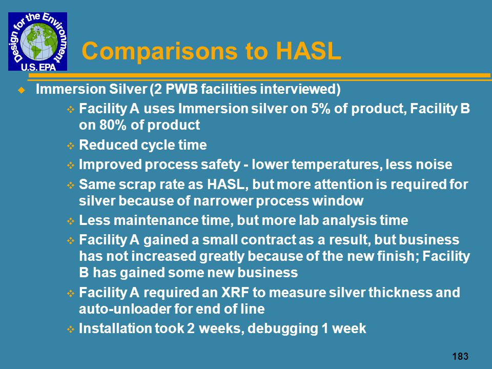 Comparisons to HASL Immersion Silver (2 PWB facilities interviewed)