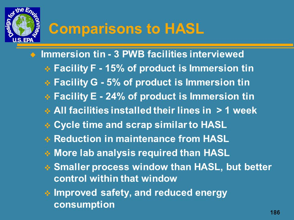 Comparisons to HASL Immersion tin - 3 PWB facilities interviewed