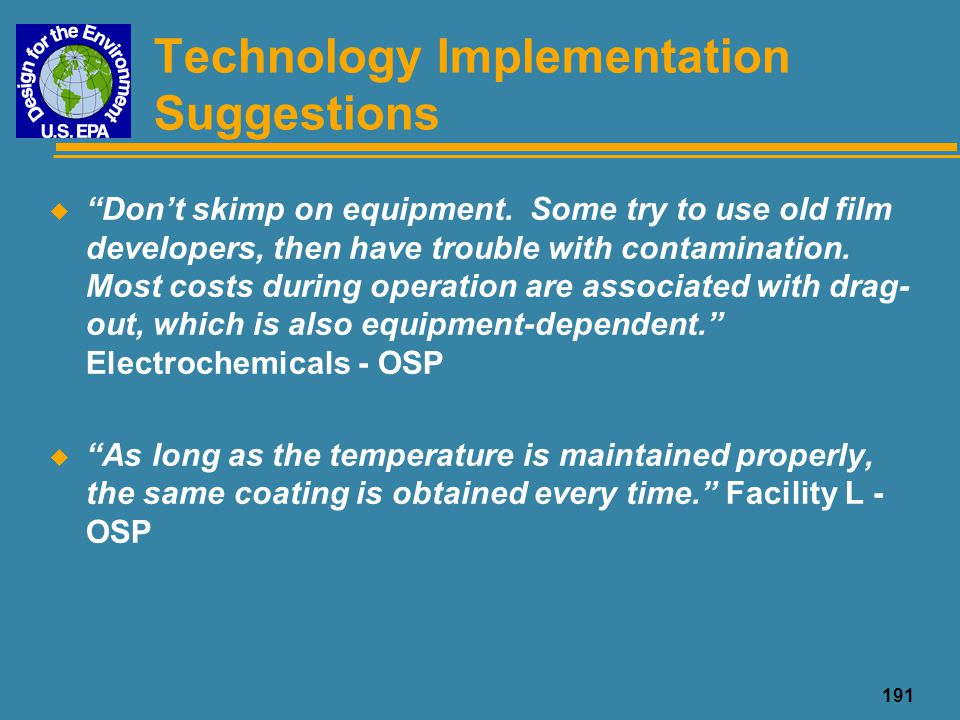 Technology Implementation Suggestions