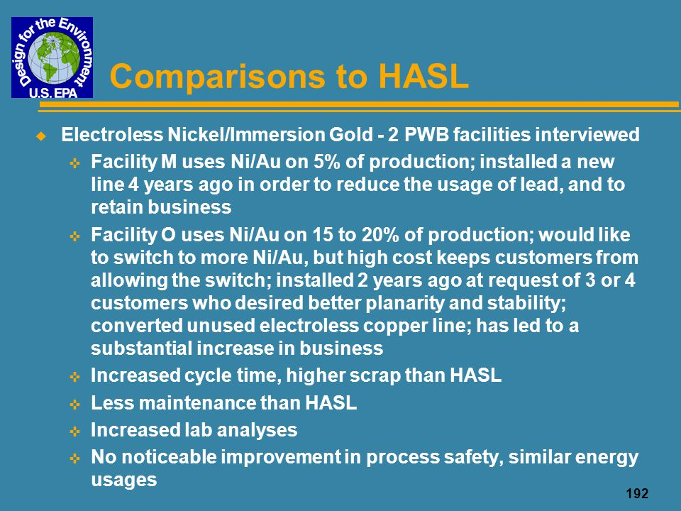Comparisons to HASL Electroless Nickel/Immersion Gold - 2 PWB facilities interviewed.