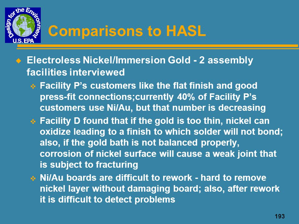 Comparisons to HASL Electroless Nickel/Immersion Gold - 2 assembly facilities interviewed.