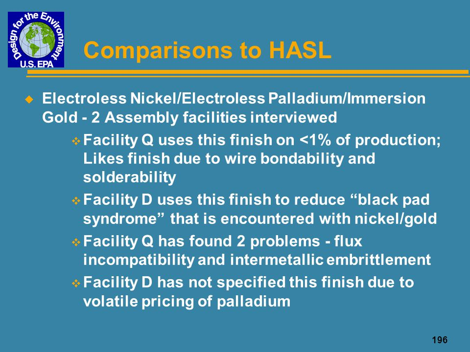 Comparisons to HASL Electroless Nickel/Electroless Palladium/Immersion Gold - 2 Assembly facilities interviewed.