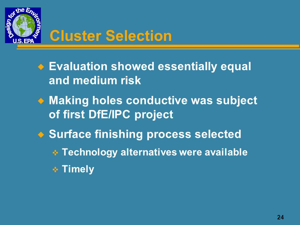 Cluster Selection Evaluation showed essentially equal and medium risk