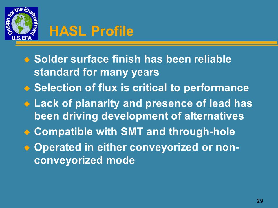 HASL Profile Solder surface finish has been reliable standard for many years. Selection of flux is critical to performance.