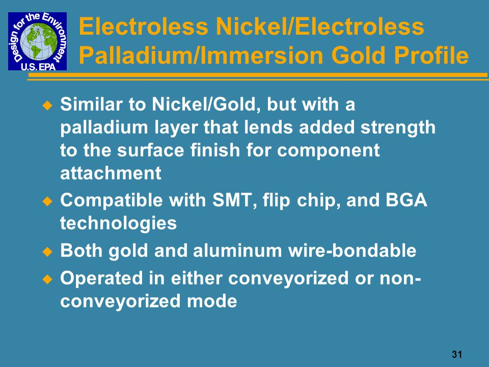 Electroless Nickel/Electroless Palladium/Immersion Gold Profile