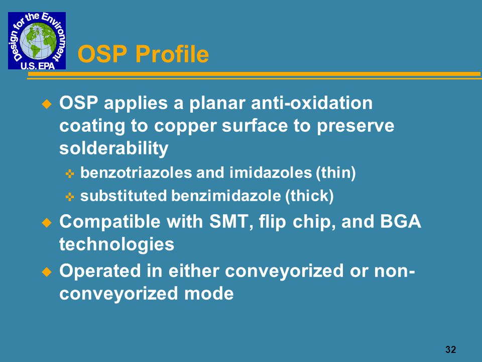 OSP Profile OSP applies a planar anti-oxidation coating to copper surface to preserve solderability.