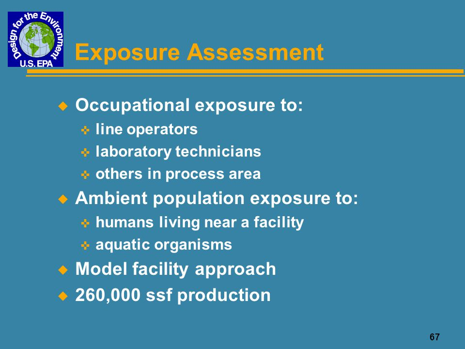 Exposure Assessment Occupational exposure to:
