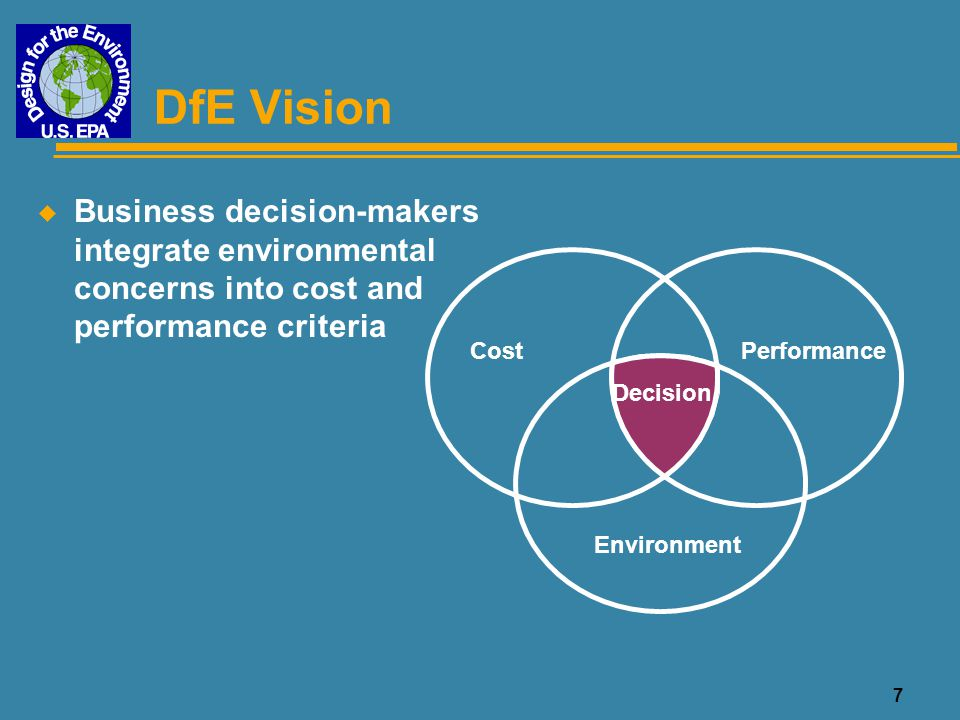 DfE Vision Business decision-makers integrate environmental concerns into cost and performance criteria.
