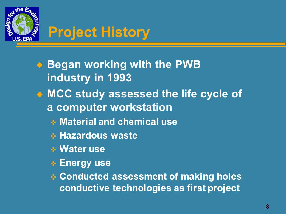 Project History Began working with the PWB industry in 1993