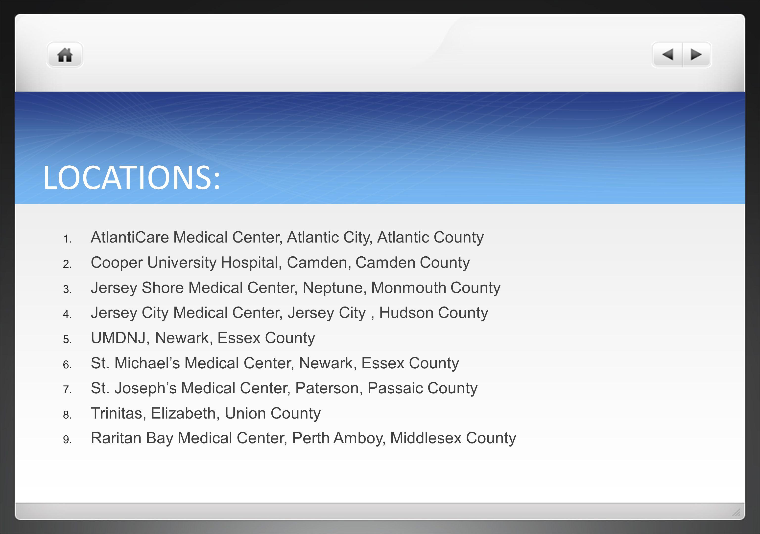 LOCATIONS: AtlantiCare Medical Center, Atlantic City, Atlantic County