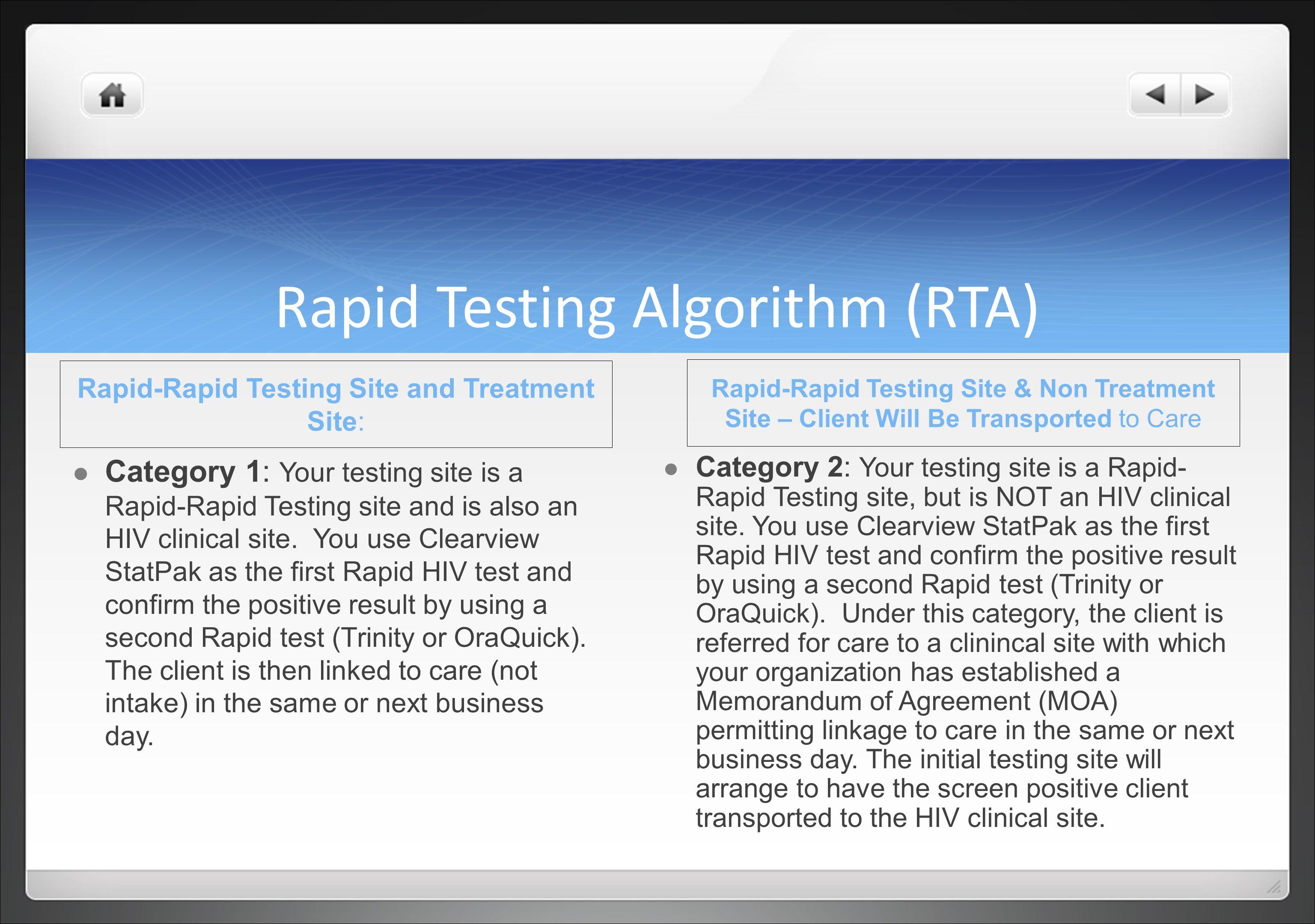 Rapid Testing Algorithm (RTA)