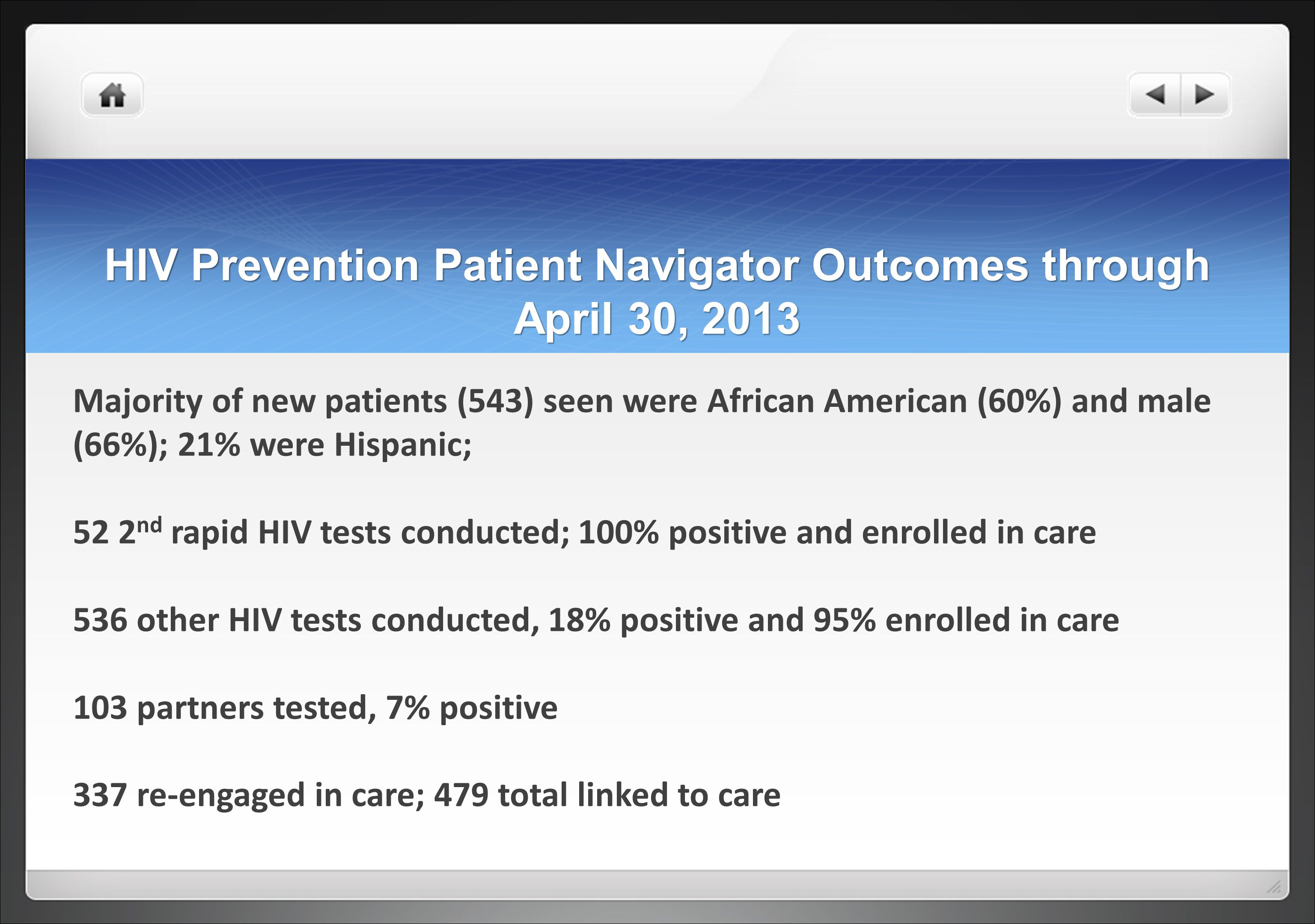 HIV Prevention Patient Navigator Outcomes through April 30, 2013