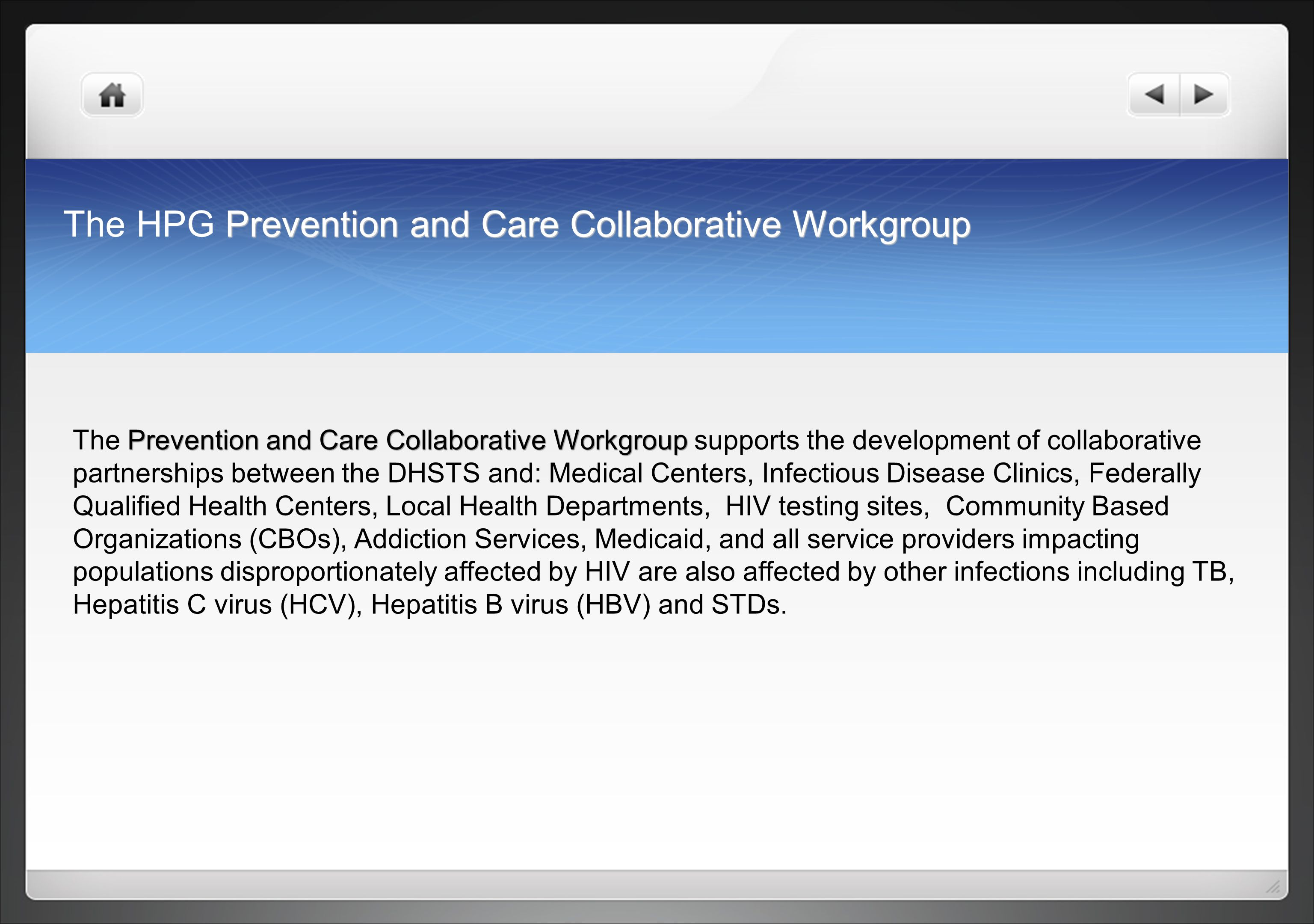 The HPG Prevention and Care Collaborative Workgroup