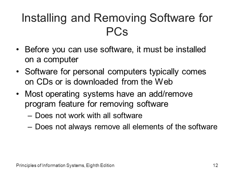 Installing and Removing Software for PCs