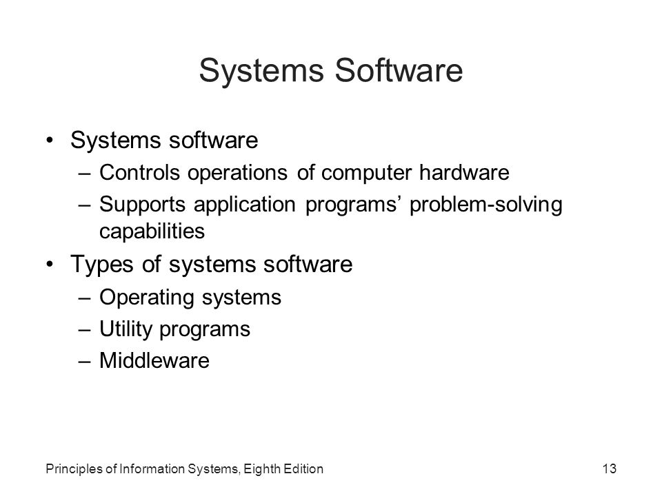 Systems Software Systems software Types of systems software