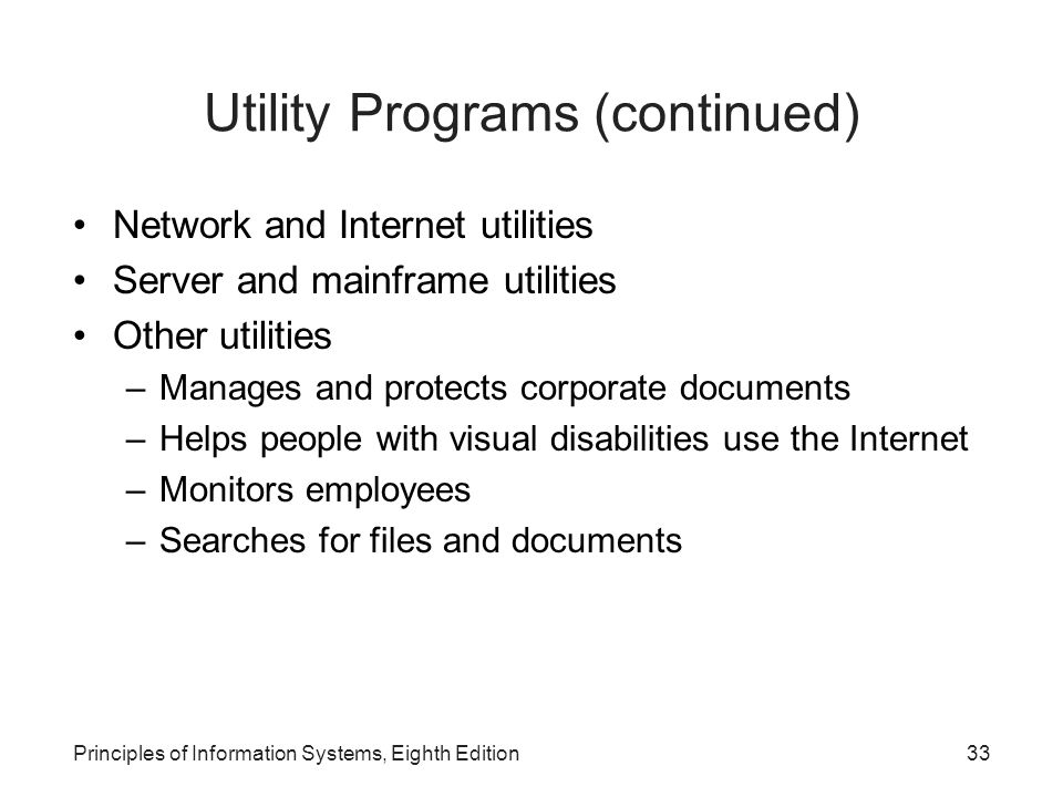 Utility Programs (continued)