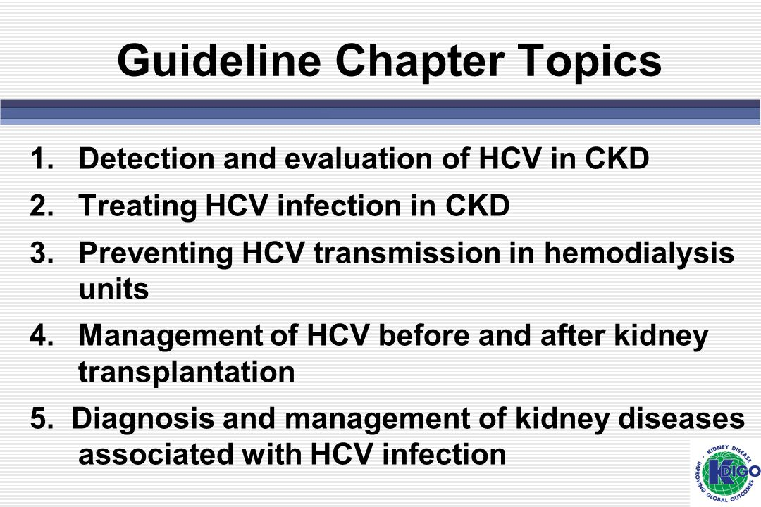 Guideline Chapter Topics