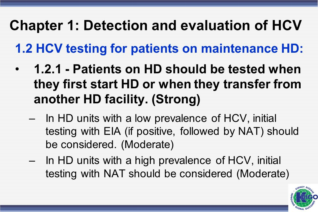 Chapter 1: Detection and evaluation of HCV