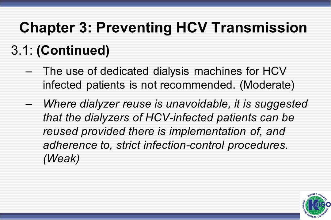 Chapter 3: Preventing HCV Transmission