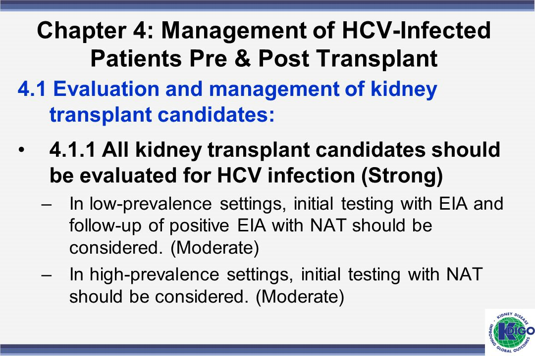 Chapter 4: Management of HCV-Infected Patients Pre & Post Transplant