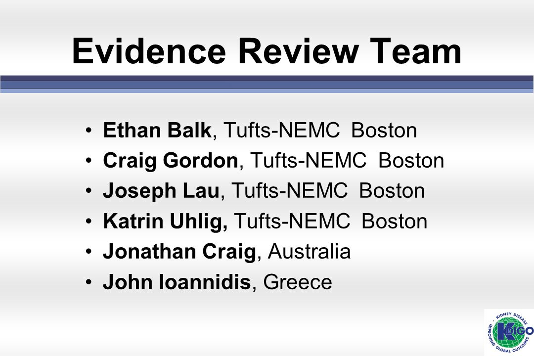 Evidence Review Team Ethan Balk, Tufts-NEMC Boston