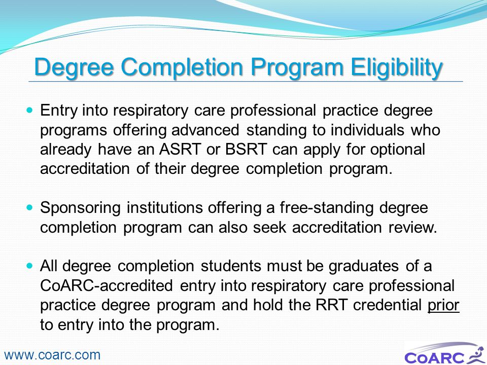 Degree Completion Program Eligibility