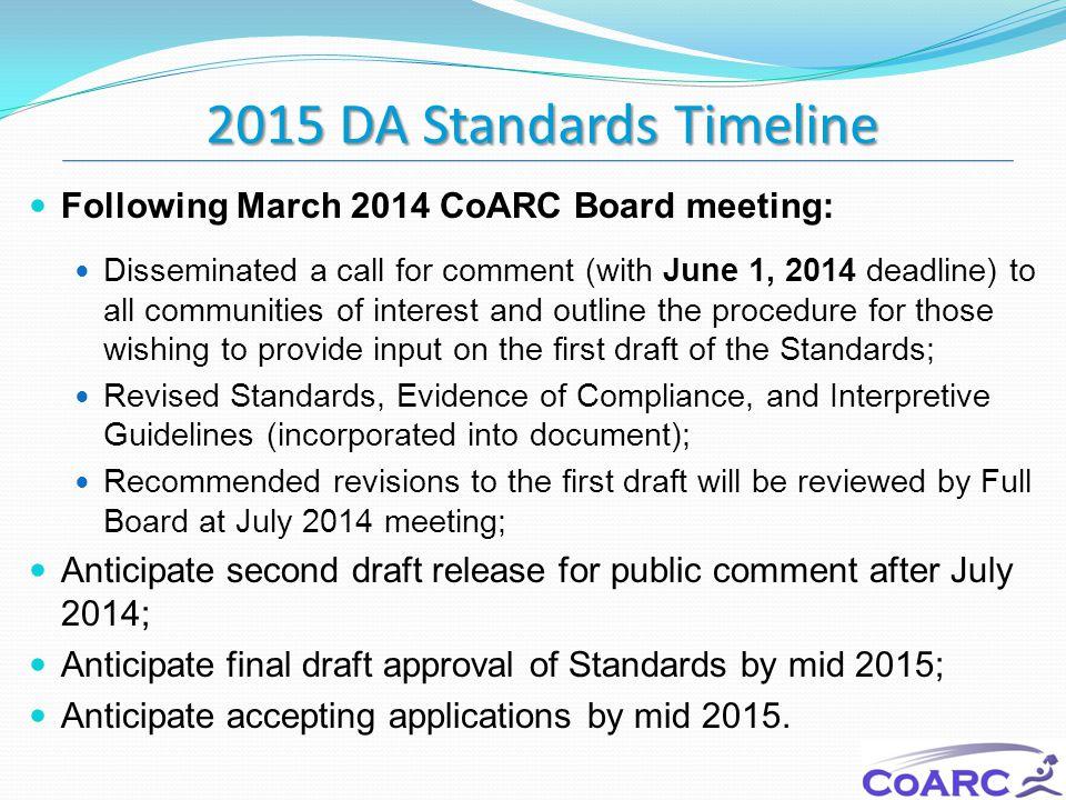 2015 DA Standards Timeline Following March 2014 CoARC Board meeting: