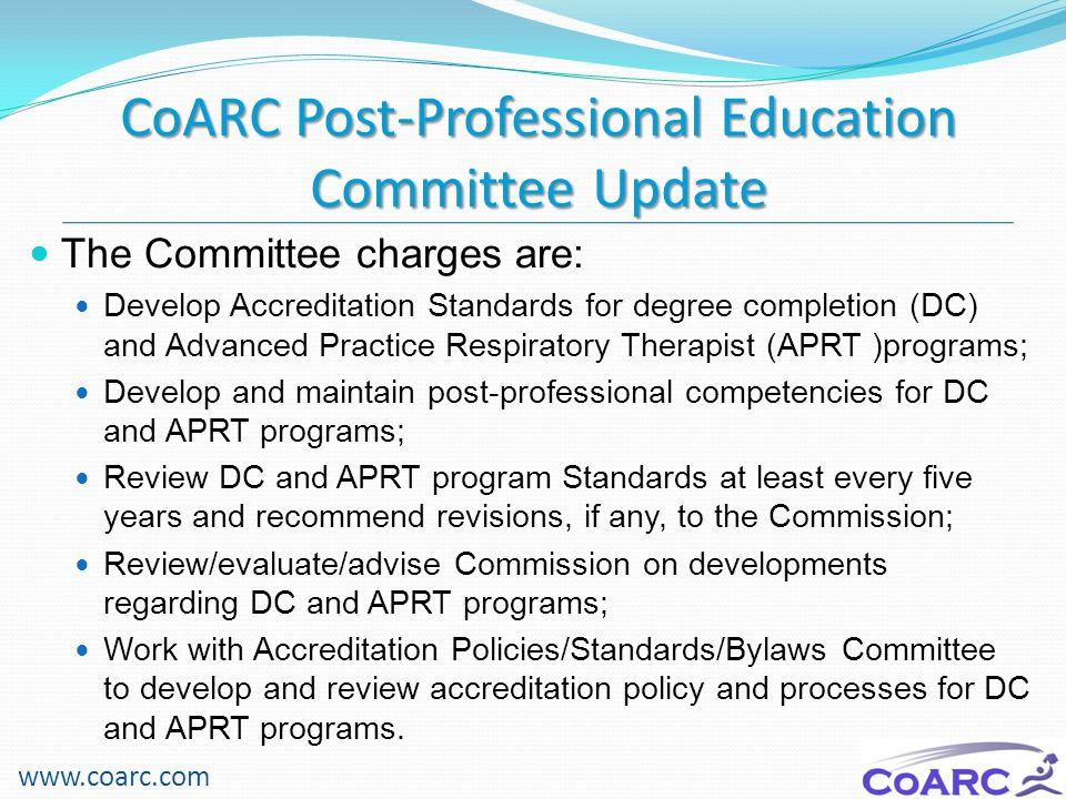 CoARC Post-Professional Education Committee Update