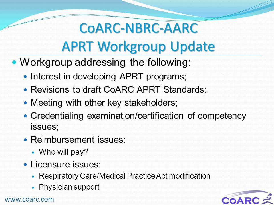 CoARC-NBRC-AARC APRT Workgroup Update