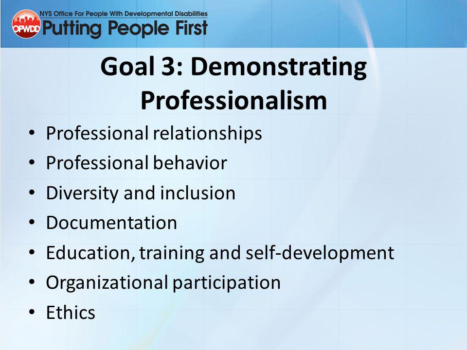 Goal 3: Demonstrating Professionalism