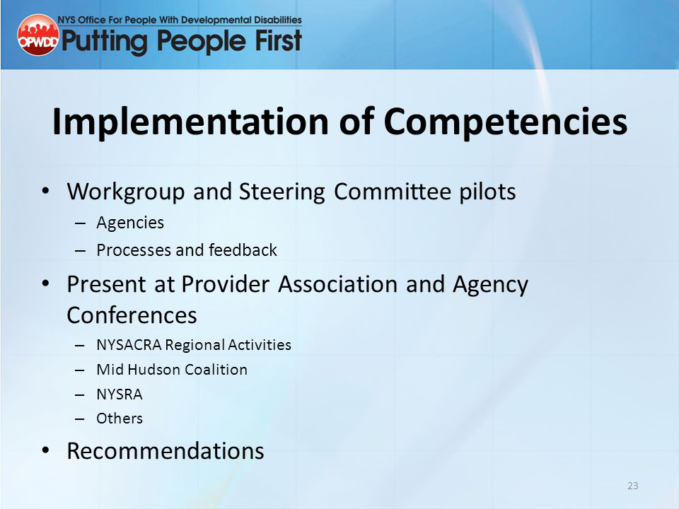 Implementation of Competencies