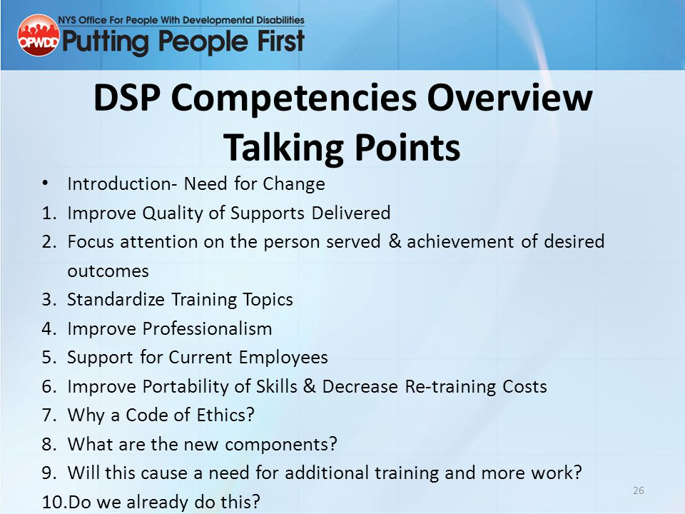 DSP Competencies Overview Talking Points