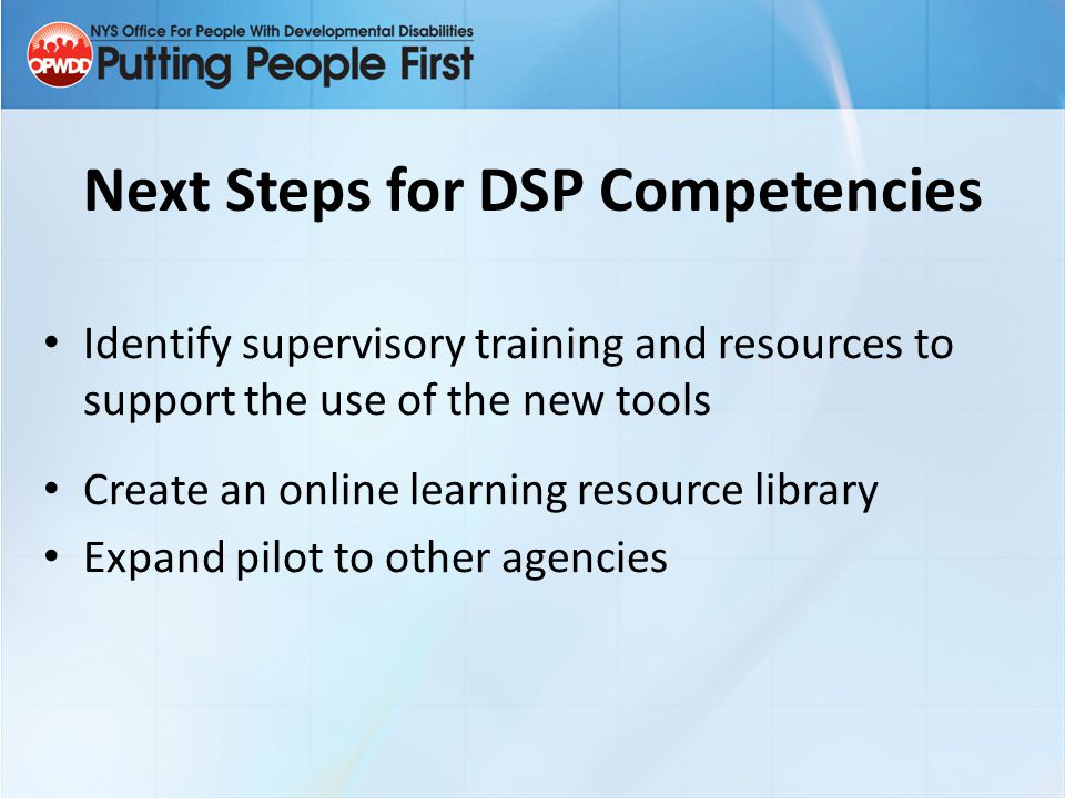 Next Steps for DSP Competencies