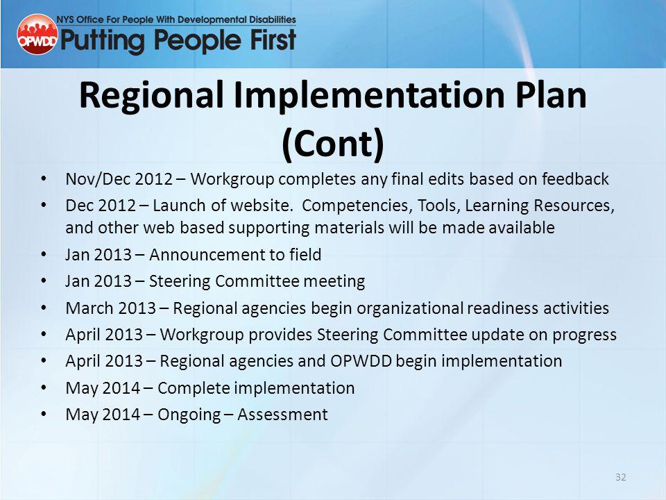 Regional Implementation Plan (Cont)