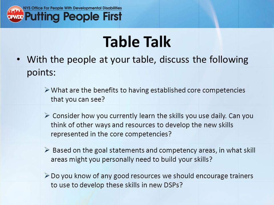 Table Talk With the people at your table, discuss the following points: