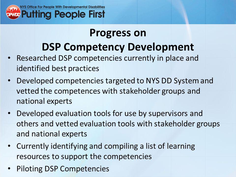 Progress on DSP Competency Development